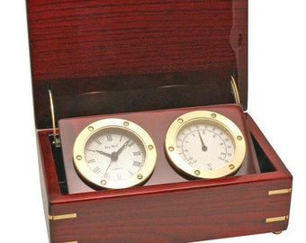 Engraved Desktop Clock and Thermometer Station