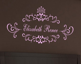 Lovely Princess Crown Monogram with Personalized custom Name -  Nursery Baby Room Vinyl Wall Lettering Decal LARGE sizes  39+ Colors Swirly