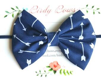 Navy with White Arrows Bow Headband, Baby Headbands, Baby Girl Headbands, Baby Girl Headbands, Infant Headbands, Baby Bows