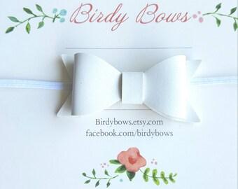 White Leather Baby Bow Headband, Baby Headbands, Infant Headbands, Baby Girl Headbands, Infant Bow, Baby Bow, Girl Bow,Girl Headbands