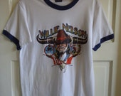 Vintage 80s WILLIE NELSON Concert Ringer T Shirt sz XS/S