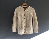 Pure Merino Wool Irish Fisherman Cardigan S / XS