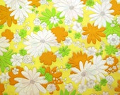 One Yard of Vintage Sheet Fabric - Orange and Green Floral