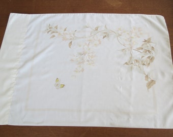 "Vintage Pillowcase - Brown Butterfly - 30"" x 20"""