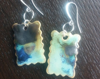 Blue and Yellow Rectangle Ceramic Earings