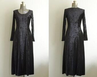 1990s All That Jazz Black Velvet Empire Waist Maxi Dress Size Small