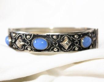 Vintage Bangle Bracelet, Silver Moonstone Bracelet,  1960s Jewelry