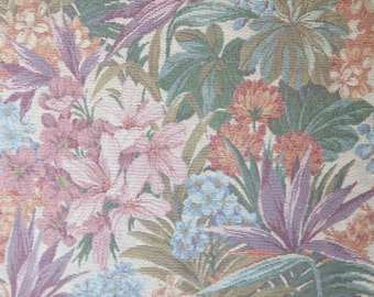 """3 Yards of Vintage 56"""" Brocade Tropical Print Fabric. Mauve Colors. Rose, Purple, Blue, Lavender, Olive, Teal, Natural. High Quality. 3899F"""