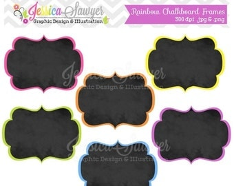 80% OFF - INSTANT DOWNLOAD, rainbow chalkboard frame clipart for commercial or personal use