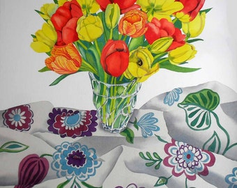 Tulips on Floral Cloth