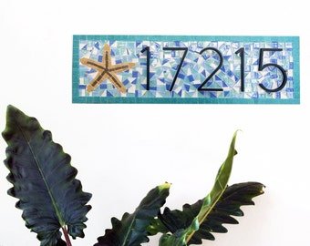 Mosaic House Number Sign with Starfish / Beach House Address Plaque / Address Numbers / Personalized