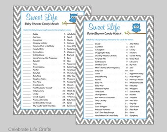 Sweet Life Baby Shower Game - Printable Candy Bar Match Baby Shower Games - Baby Boy - Blue & Gray Chevrons Owl Baby Shower Theme B2001