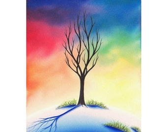 Colorful Winter Landscape Print, Giclee Print of Snowy Landscape, Single Tree, Lone Tree Art, Sunset Sky Whimsical Art Print, Modern Home