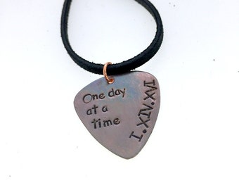 Guitar Pick Necklace - Personalized Guitar Pick -Mens - One Day At A Time - Hand Stamped Text - Leather Necklace