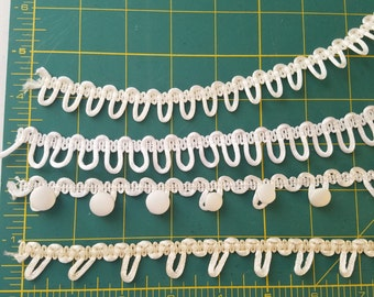 """Satin Rat Tail Button Loops for Corset Closings, Bridal Button Loops - White and Ivory, Adjacent and 1"""" spaced"""