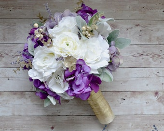 Silk Wedding Bouquet - Purple Wedding Bouquet, Purple Silk Bouquet, Wedding Bouquet, Large Bouquet
