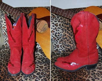 80s Suede Cowboy Boots Fit like a 7