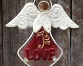 "Reserved for Ellen - Red Angel Wind Chime with 'Love"" Dress"