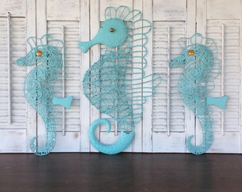 Turquoise Seahorse Trio - Shabby Cottage Chic Blue Wall Decor - Beach