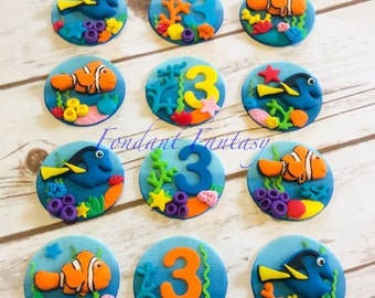 Ombre Under The Sea Fondant Cupcake Toppers