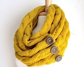 SALE Mustard Infinity Scarf Braided Cable Knit Neckwarmer Yellow Gold Circle Loop Scarves with Buttons Women Girls Accessories