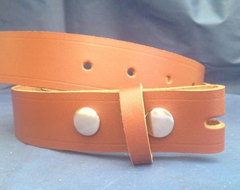 Light Brown Leather Press Stud Snap Belt Choice of Widths & Sizes Handmade Real Leather