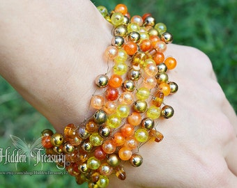 Autumn Gold and Orange Beaded Bracelet
