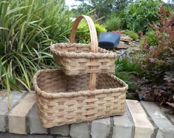 Rug Hooker Crafter Basket Quilter Basket Craft Storage Basket Double Base Basket Specialty Basket Needlework Basket Handwoven Basket