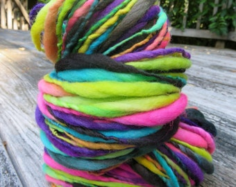 Handspun Yarn, Thick and Thin, Art Yarn, Wool,  Merino, Bulky, Single Ply, Boogaloo