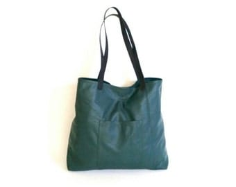 Green Leather Tote Bag with Black Handles  / Carryall Shoulder Purse / Unique Unlined Shopper Handbag Yuritzy