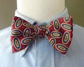 FANTASTIC Vintage Robert Talbott Pure Silk Dark Multicolored Medallion Patterned Trad / Ivy League Adjustable Self Tie Bow Tie.
