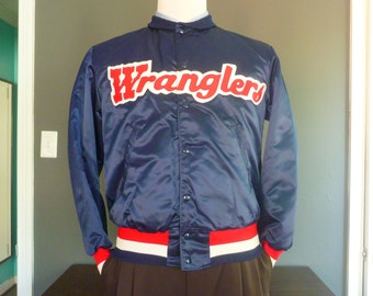 "DEADSTOCK / NOS Vintage ""Wranglers"" Quilted Satin Jacket Size Medium.  Made in USA."