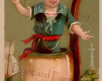 Precious Young Boy inside PIPE, Fantasy Liebig Trade Card, Instant DIGITAL DOWNLOAD