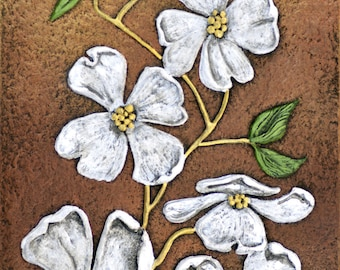 Dogwood - Cast Paper - Tree - white flower - wall art
