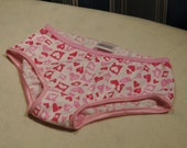 Pink hearts Valentines underwear, girls panties in white and pink print, sizes 1T through girls 10