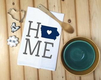 Iowa State Flour Sack Towel, Iowa State Tea Towel, Flour Sack Tea Towel, House Warming Gift, Wedding Gift, Kitchen Decor, State Map Art
