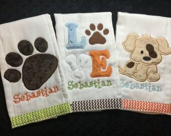Puppy Love Burp Cloth Set