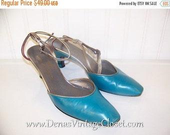 60% OFF Clearance Sale Vintage 60s Charles  Jourdan Teal Leather Shoes Slings Pumps Heels sz 6 1/2 M