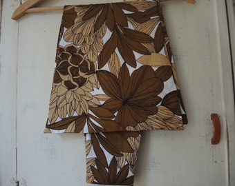 Vintage 1970s acetate scarf brown tropical foliage 63 inches long