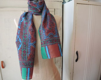 vintage 1970s scarf  paisley polyester made in Japan blue green brown 12 x 54 inches
