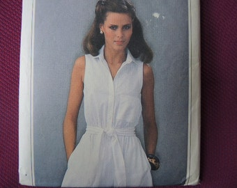 vintage 1970s Simplicity ESP sewing pattern 8972 misses sleeveless dress and sash size 8/10/12