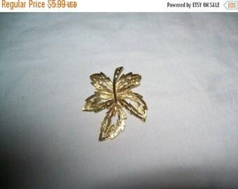 50% OFF Jewelry pendant, leaf pendant, goldtone leaf pendant, vintage pendant