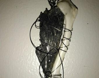 Kyanite/rabbit bone pendant