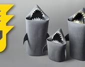 SHARK FAMILY SALE, Shark felt kids toy storage basket, Laundry basket, Toy storage, Baby Shark basket, Toy bin, Fun storage, Shark bin, Sale
