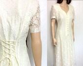 Vintage Lace Dress Ivory Lace Dress 90's Dress 80's Dress MINIMALIST Dress Maxi Dress Ivory Wedding Dress Sheer Dress Large Lace Wedding