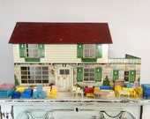Vintage 1950's Marx Large Litho Tin Toy Dollhouse and Furniture French Country Shabby Chic Stone