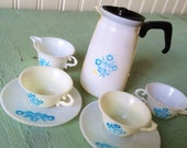 Vintage 1960's Doll Corning Ware Plastic Miniatures Dishes Carafe w/ lid Sugar Creamer Spoon Plates Cups
