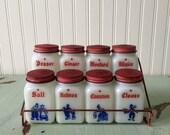 Vintage 1950's Milk Glass Dutch Delft Motif Blue Red 8 Piece Spice Rack