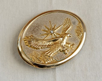 Vintage eagle belt buckle...silver and gold flying eagle belt buckle.