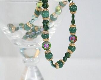 Jade Aurora Borealis Crystal Necklace Fabulous Vintage Great Gift Idea Holiday